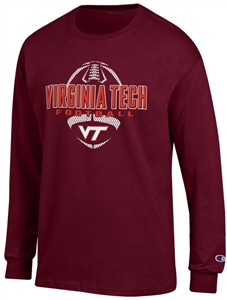 Virginia Tech Hokies Maroon Football Long Sleeve Tee Shirt by Champion