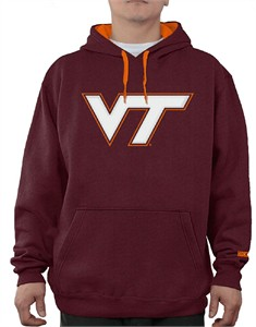 Virginia Tech Hokies Mens Maroon Embroidered Icon Hoodie Sweatshirt