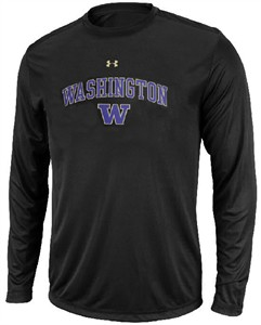 Washington Huskies Black Poly Dry HeatGear NuTech LS Shirt by Under Armour