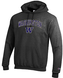 Washington Huskies Granite Heather Champion Campus Powerblend Screened Hoodie Sweatshirt