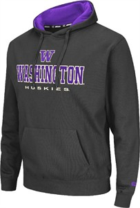 Washington Huskies Mens Charcoal Zone 2 Embroidered Hoodie