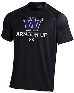 Washington Huskies Black Poly Dry Armour Up HeatGear Tech Short Sleeve Shirt