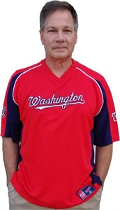 Washington Nationals Cooperstown Clean Up Hitter V Neck Jersey by Majestic