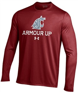 Washington State Cougars Armour Up HeatGear Long Sleeve T Shirt by Under Armour