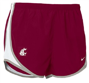 Washington State Cougars Women's Crimson  Dri FIT Tempo Running Shorts by Nike on Sale