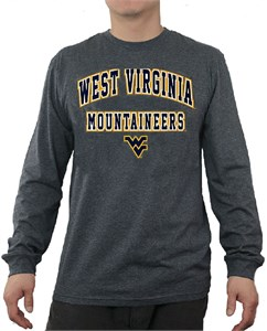 West Virginia Mountaineers Charcoal Adult Flanker Long Sleeve Tee Shirt by E5