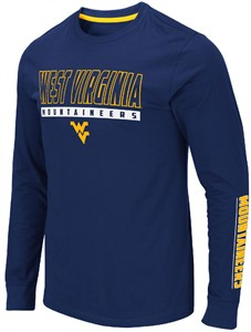 West Virginia Mountaineers Men's Blue Guam Long Sleeve T Shirt
