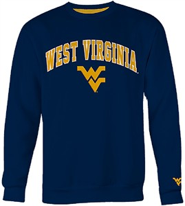West Virginia Mountaineers Mens Blue Embroidered College Classic Crewneck Sweatshirt