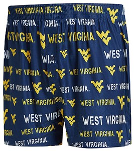 West Virginia Mountaineers Mens Blue Synthetic Midfield Boxer Shorts