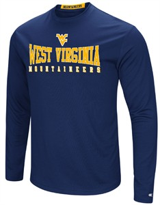 West Virginia Mountaineers Mens Blue Synthetic Streamer Long Sleeve T Shirt