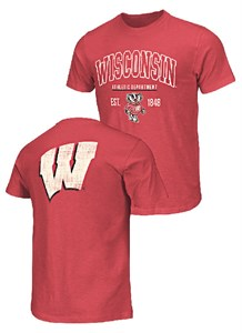 13d15227 Wisconsin Badgers 2-Sided Hooper Short Sleeve T Shirt by Colosseum ...