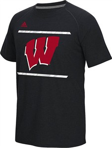 Wisconsin Badgers Black Adidas Sidelines Energize Ultimate Polyester Shirt