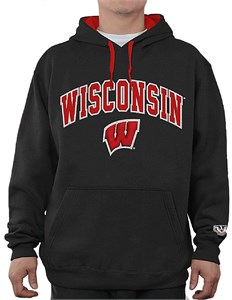 Wisconsin Badgers Black Embroidered College Classic Hoodie Sweatshirt
