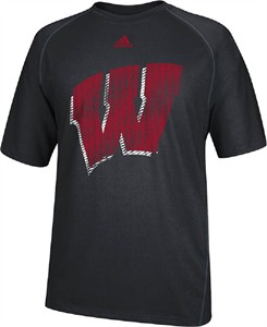 Wisconsin Badgers Black Razor Logo Performance T Shirt by Adidas