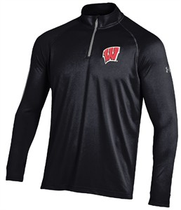 Wisconsin Badgers Black Synthetic ¼ Zip Under Armour Performance Long Sleeve Tech T Shirt