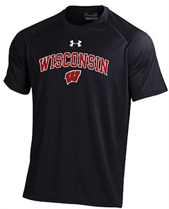 Wisconsin Badgers Black Under Armour Poly Dry HeatGear NuTech Performance Shirt