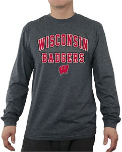 Wisconsin Badgers Charcoal Adult Flanker Long Sleeve Tee Shirt