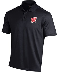 Wisconsin Badgers Mens Black Under Armour Performance Polo Shirt
