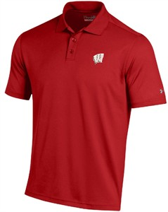 Wisconsin Badgers Mens Red Under Armour Performance Polo Shirt