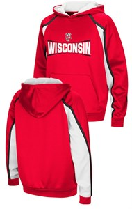 Wisconsin Badgers Youth Hook and Lateral Pullover Synthetic Hoodie Sweatshirt