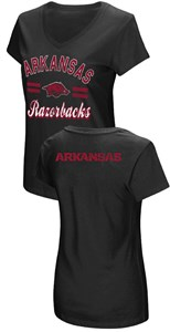 Women's Arkansas Razorbacks Junior Sized Black Hurdle V Neck T Shirt