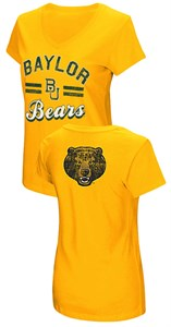 Women's Baylor Bears Junior Sized Gold Hurdle V Neck T Shirt