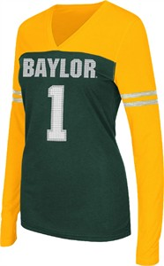 Women's Baylor Bears V Neck Long Sleeve Packed Powder Tee Shirt by Colosseum