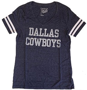 Women's Dallas Cowboys Navy Heather Fandom V Neck T Shirt