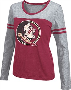 Women's Florida State Seminoles Wine Leap Scoop Neck Long Sleeve Tee Shirt