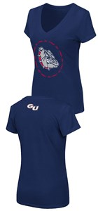 Women's Gonzaga Bulldogs Slim Fit Blue V Neck T Shirt