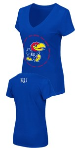Women's Kansas Jayhawks Slim Fit Royal Parma V Neck T Shirt