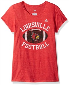 Women's Louisville Cardinals Adidas Slim Fit T Shirt-Gameday Double Arch