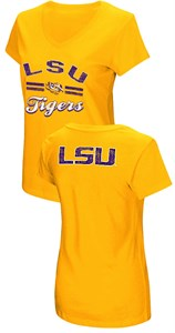 Women's LSU Tigers Junior Sized Gold Hurdle V Neck T Shirt