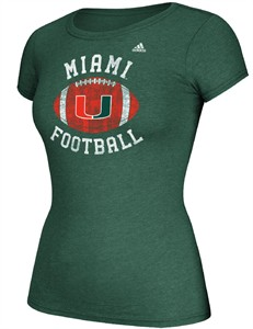 Women's Miami Hurricanes Adidas Slim Fit T Shirt-Gameday Double Arch
