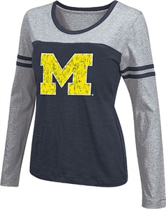Women's Michigan Wolverines Blue Leap Scoop Neck Long Sleeve Tee Shirt