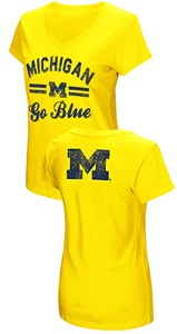 Women's Michigan Wolverines Junior Sized Maize Hurdle V Neck T Shirt