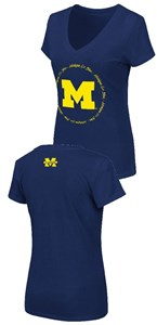 Women's Michigan Wolverines Slim Fit Blue Parma V Neck T Shirt