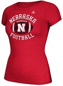 Women's Nebraska Cornhuskers Adidas Slim Fit T Shirt-Gameday Double Arch