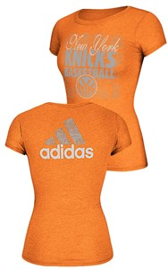 Women's New York Knicks Adidas Slim Fit Tee Shirt-Dimple Texture Shine