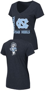 Women's North Carolina Tar Heels Navy Slim Fit 2 Sided V Neck T Shirt