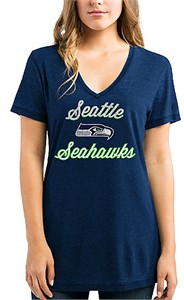 Women's Seattle Seahawks Heather Navy Deep V Neck Day Game 2 Tee Shirt