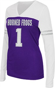 Women's TCU Horned Frogs V Neck Long Sleeve Packed Powder Tee Shirt by Colosseum