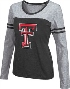 Women's Texas Tech Red Raiders Black Leap Scoop Neck Long Sleeve Tee Shirt