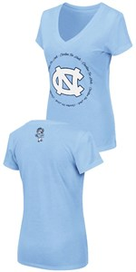Women's UNC Tar Heels Slim Fit Carolina Blue V Neck T Shirt