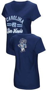 Women's UNC Tarheels Junior Sized Navy Hurdle V Neck T Shirt