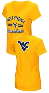 Women's West Virginia Mountaineers Junior Sized Old Gold Hurdle V Neck T Shirt