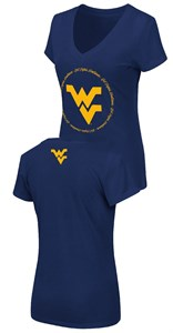 Women's West Virginia Mountaineers Slim Fit Blue Parma V Neck T Shirt