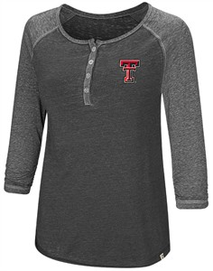 Womens Texas Tech Red Raiders Black 8 Pound Colosseum Henley Long Sleeve Shirt