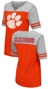Clemson Tigers Juniors Sized V Neck T Shirt- On A Break-Orange
