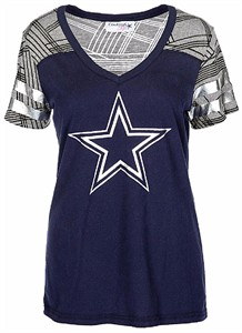 3b9d9119 Womens Dallas Cowboys Blue Ruthdale V-Neck T Shirt | Dallas Cowboys ...